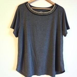 Jeweled neckline tee